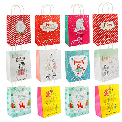 Reindeer Gift Bag - Christmas Gift Bags, Aiduy 12 Assorted Kraft Paper Bags Bulk Medium Holiday Bags Party Bags Present Paper Gift Bags with Handle for Wrapping, Shopping, Carry, Retail and Merchandise