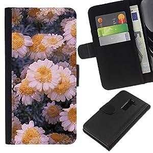 For LG G2 D800 Case , Flowers Daisies Winter Ice Art - la tarjeta de Crédito Slots PU Funda de cuero Monedero caso cubierta de piel