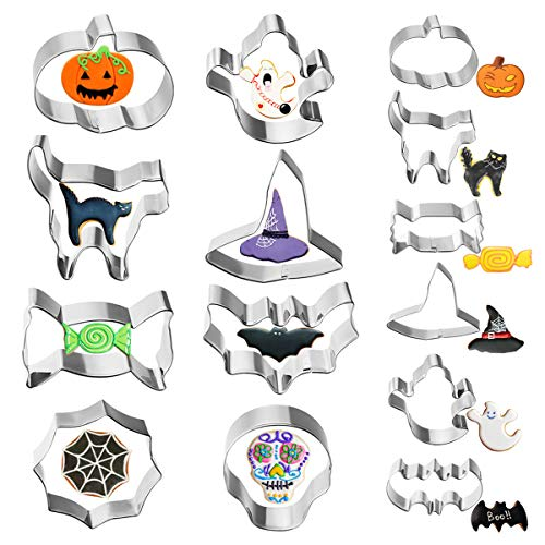 Bone Cookies For Halloween (VHAUSE 14PCS Halloween Cookie Cutters Stainless Steel - 8 Large and 6 Small Non-Stick Biscuit Molds for Baking - Pumpkin, Witch Hat, Bat, Ghost, Cat, Candy, Spider Web and)