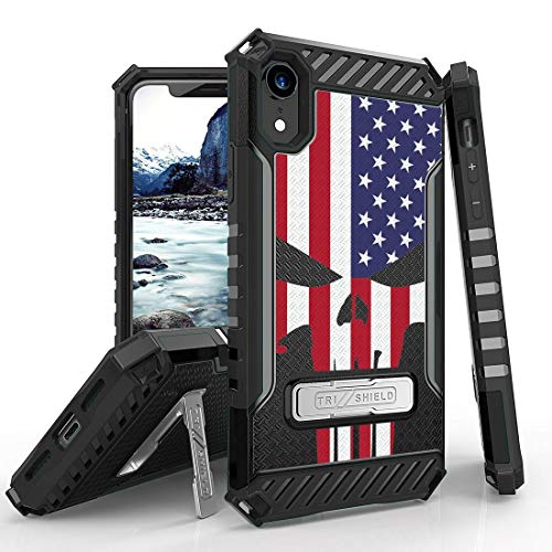 Beyond Cell Tri Shield Military Grade Shock Proof [MIL-STD 810G-516.6] Kickstand Case Cover for Apple iPhone XR - USA Skull Flag from Bemz Depot