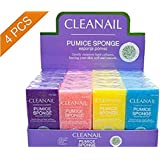 Cleanail Pumice Sponge Bar (4 Pack, Assorted Colors - each packed individually): 4 inches long - Medium Grit Callus Remover, Pedicure Stone and Ped File Scrubber For Smooth Feet and Heels