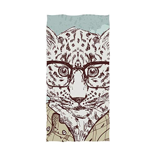 MAPOLO Hipster Leopard with Glasses and Suit 600 GSM Bath Towels for Home, Hotel and Spa 32