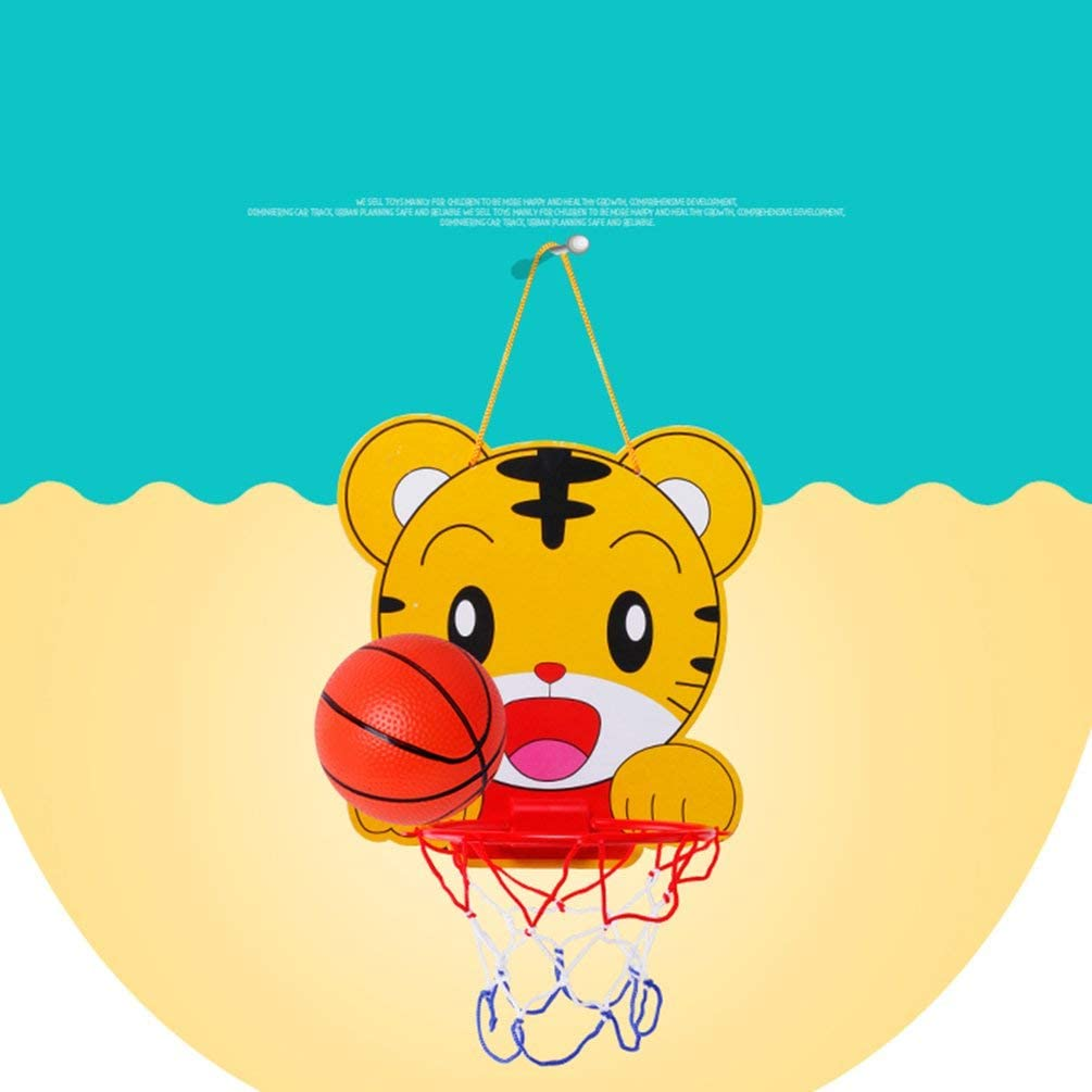 Yellow Childrens Cartoon Lifting Basketball Stand with Basketball Childrens Toys