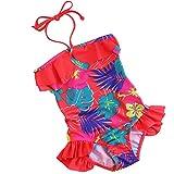 #6: iiniim Baby Little Girls Floral One Piece Bikini Swimwear Hawaii Ruffle Swim Bathing Suit