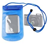 """DURAGADGET High Quality Water Resistant """"Travel"""" Case / Pouch With Neck Strap in Blue For The New Canon Powershot SX610 HS"""
