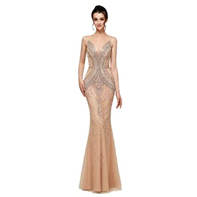 2f6df25c62cae Lazacos Women's Luxury Crystal Beaded Evening Dress Sheer V-Neck Mermaid  Prom Gown at Amazon Women's Clothing store:
