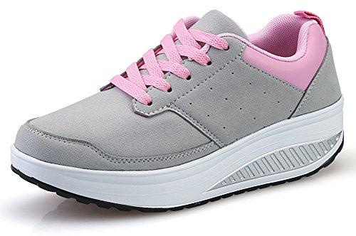 Ausom Women's Stylish Leather Platform Wedges Walking Fitness Shape up Sneaker Toning Shoes by Ausom