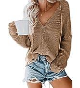 BLENCOT Women Solid Long Sleeve Zipper Hoodie Sweaters Pullover Knit Cardigan Sweater