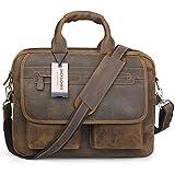 Jack&ChrisMen's Handmade Leather Briefcase Laptop Bag Messenger Shoulder Bag,NM1862
