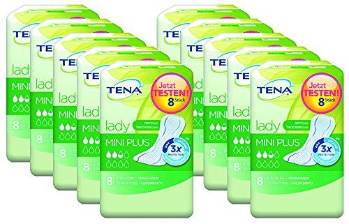 Tena Lady Mini Plus, Einlagen für leichte Blasenschwäche / Inkontinenz, 10er Pack (10 x 8 Stück)