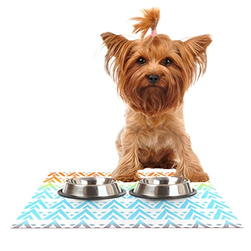 Kess InHouse Frederic Levy-Hadida Antilops Pattern  Multicolor Chevron Feeding Mat for Pet Bowls, 18 by 13-Inch