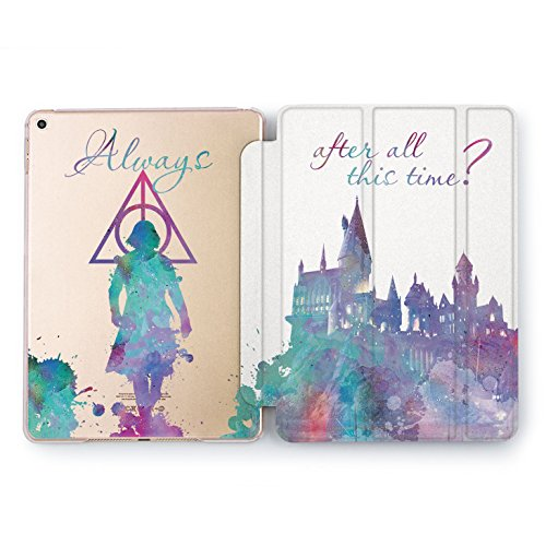 Wonder Wild Deathly Hallows Print Case IPad 9.7 2017 A1822 A1823 2018 A1893 A1954 Air 2 A1566 A1567 6th Gen Clear Design Smart Hard Cover Harry Potter Hogwarts Castle Silhouette Movie Characters ()