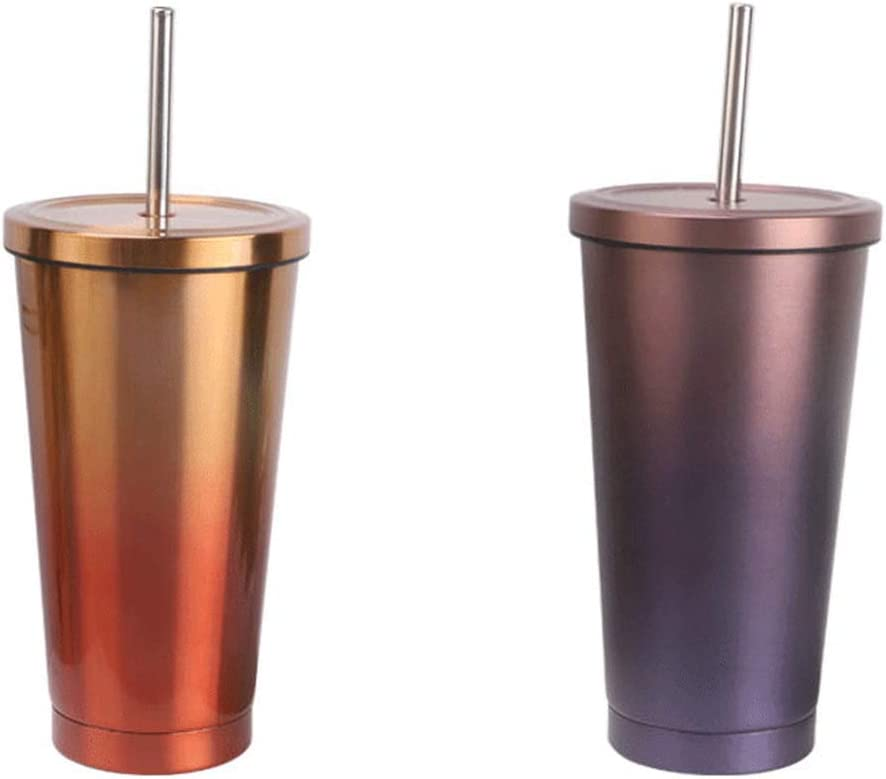 Vaso de sorbete de acero inoxidable de doble capa resistente y duradero, Vaso de viaje con succión al vacío con tapa, Vaso de pinta de colores con aislamiento para automóvil, Vaso de onza fría con a