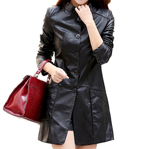 Amazon.com: Honghu Women Casual Long Sleeve Zipper Faux Leather Long Sleeves Jacket Long Outcoats: Clothing