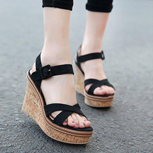 Muffin Mujer De Personalidad Cuña Cm Zapatos Black Sandalias Moda Impermeable Altos Plataforma Tacones Gruesa Verano Color 10 Size Gray 8HdRwqxtn