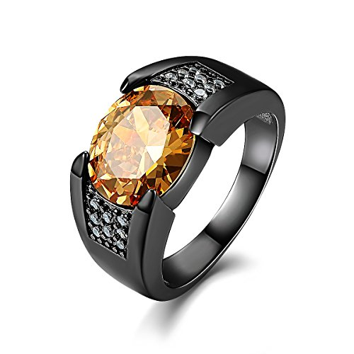 Oval Topaz Jewelry Box - Suohuan Fashion Vintage Jewelry Men's Big Oval Stone Champagne Created Topaz & Sapphire Black Gold Plated Valentine's Day Gift For Him Size 11