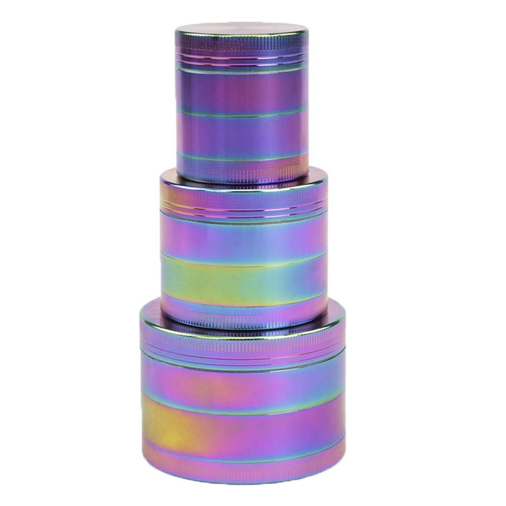 ANTEER Aluminum Herb Grinders 2-inch 4 Piece for Spice Tobacco with Magnetic Top Mini Crusher Mill Rainbow Color