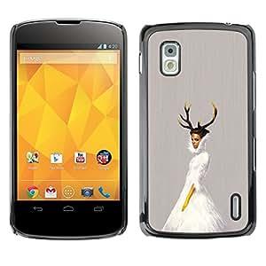Caucho caso de Shell duro de la cubierta de accesorios de protección BY RAYDREAMMM - LG Nexus 4 E960 - Cuernos de la bailarina