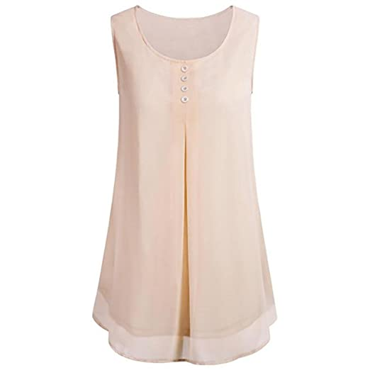 Gillberry Soft Vest Women s Summer Layered Crew Neck Pleated Chiffon Sleeveless  Blouse Tops (Beige