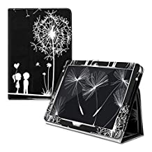 kwmobile Chic synthetic leather case for the Acer Iconia Tab 10 (A3-A20) in white black convenient stand function and Design dandelion love
