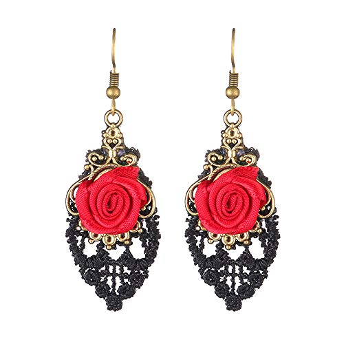 vmree Lolita Fashion Handmade Red Rose Black Lace Plated Totem Dangle Earrings Personality Gothic Pendant Eardrop…