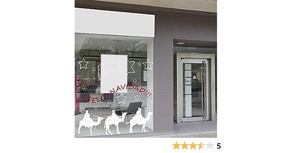 Oedim Vinilo Adhesivo Transparente en Efecto Espejo Feliz Navidad Reyes Magos Vinilo Reserva de Blanco 100 x 100 cm Vinilo Econ/ómico y Original