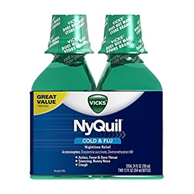 Vicks 44 Nyquil Cold and Flu Relief Liquid, Original Flavor, 24 Ounce