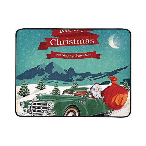 YOLIYANA Christmas Decorations Utility Beach Mat,Santa in Classic Car with Bag of Toys Snow Winter Starry Night New Year for Home,One Size
