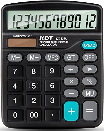 Calculator Kdt Handheld Standard Function Desktop Calculator 12 Digit Dual Power