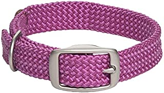 product image for Mendota Pet Double Braid Collar - Satin Nickel - Dog Collar - Made in The USA - Raspberry , 9/16 in x 12 in Junior