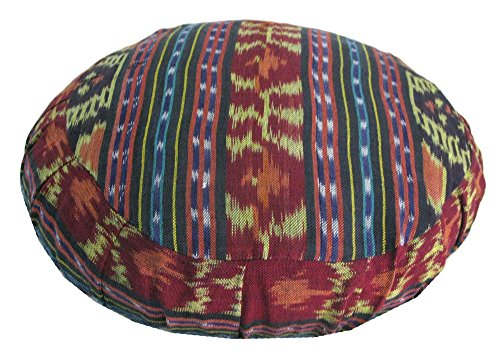 Bali Cushion Cover - Round Zafu Slipcover - Red, Yellow, and Pansy