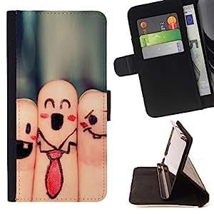 Jordan Colourful Shop - fingers faces funny drawing smiley tie art For Samsung ALPHA G850 - < Leather Case Absorci????n cubierta de la caja de alto impacto > -