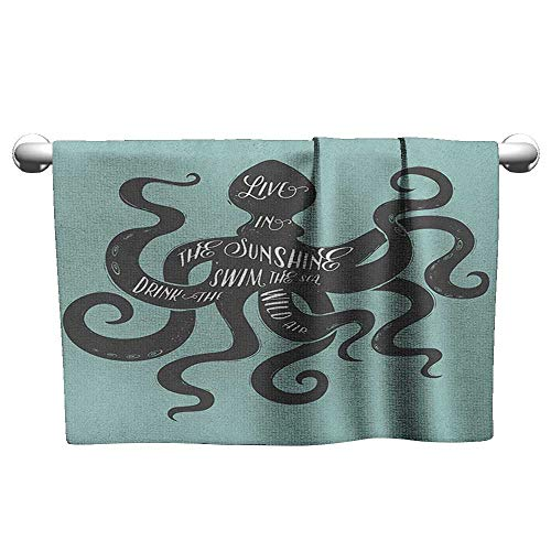 (xixiBO Hand Towel W35 x L12 Octopus,Live in The Sunshine Swim The Sea Drink The Wild Air Message Graphic, Charcoal Grey Turquoise Bath Towel in Bulk)