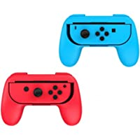 2 x Red & Blue Controller Grip Handles for Nintendo Switch Joy-Con