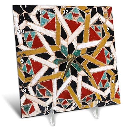 3dRose InspirationzStore - Tile Graphics - Image of Red Blue Yellow Decorative Mediterranean Style Moroccan Tile - 6x6 Desk Clock (dc_317337_1) - Graphic Image Clock