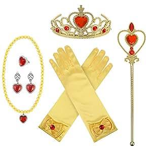 Kit de Accesorios de Disfraz de Princesa con Corona Varita Collar Guantes Anillos Pendientes, 8 Piezas (Amarillo)