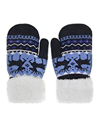 Kids Cute Snowflake Hand Arm Warmer Mitten Plush Fleece Linning Knitted Gloves