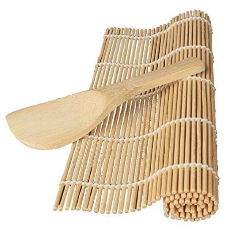 Naladoo Sushi Rolling Mat,Rice Paddle,Sushi Maker Kit Rice Roll mold Kitchen DIY Mould Roller Mat Rice Paddle Set