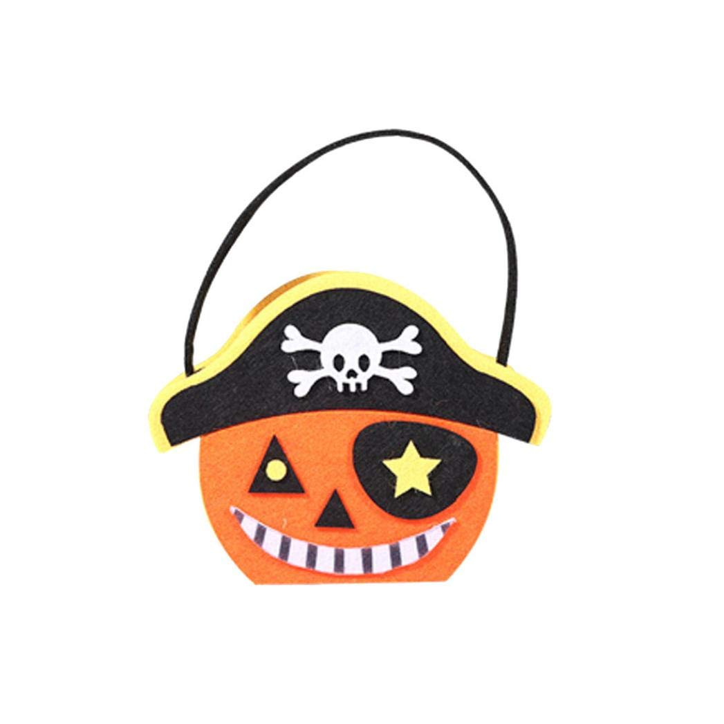 Halloween Trick or Treat Bags - Reusable Candy Totes Party Favor Bags - Halloween Cute Candy Bag Packaging Children Party Storage Bag Gift by Lotus.Flower (Pirate Cap Pumpkin)