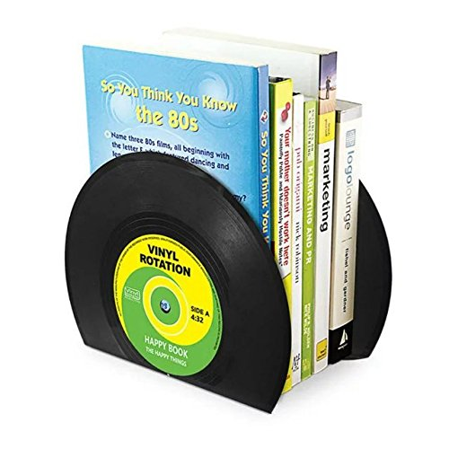 ANTIMAX Vinyl Bookends Vintage Record Bookends Creative Cool CD Shape Heavy Duty Bookends for Office School Home Decor Black (Pack of 2 Bookends / One Pair)