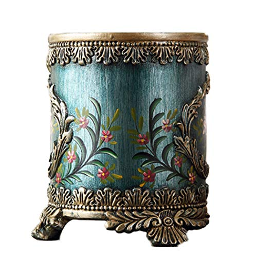 YUNHAO European Retro American Country Resin Modern Living Room Trash Can Mediterranean Luxury Storage Ice Bucket Living Room Decoration Ornaments a (Size : L) ()