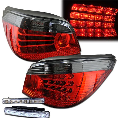 - 2004-2007 BMW 5-SERIES E60 REAR BRAKE TAIL LIGHTS RED/SMOKED+LED BUMPER RUNNING