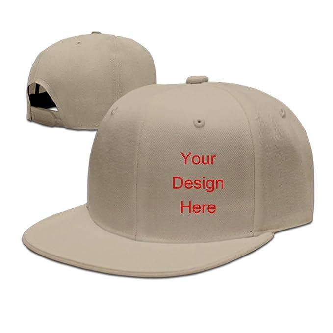 AntoniaDay Custom Caps Custom Hats Flexfit Hats Baseball Team Caps Flat  Bill Snapback Baseball Cap (Beige d64d043c078