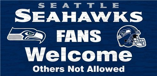 Seattle Seahawks Wood Sign - Fans Welcome 12''x6'' by Hall of Fame Memorabilia