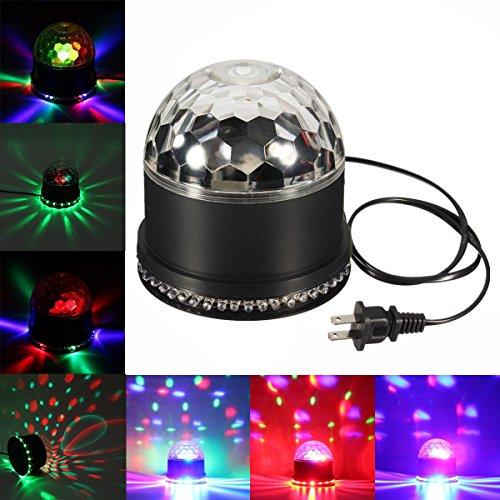 GLISTENY Mini Disco Light Colorful 48LED Bulb Stage Light 5W Crystal Magic Ball Party Lamp For KTV Bar Lights DJ Ballroom Home Club Pub + US Plug AC 90V-240V