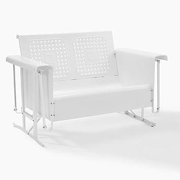 Crosley Furniture Bates White Loveseat Glider