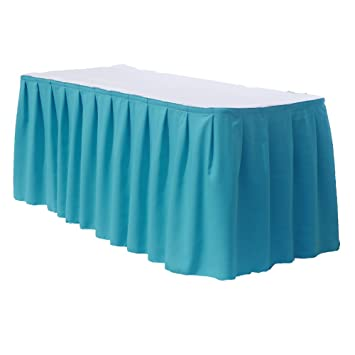 14 Feet Polyester Table Skirt By Florida Tablecloth Factory (Light Blue)