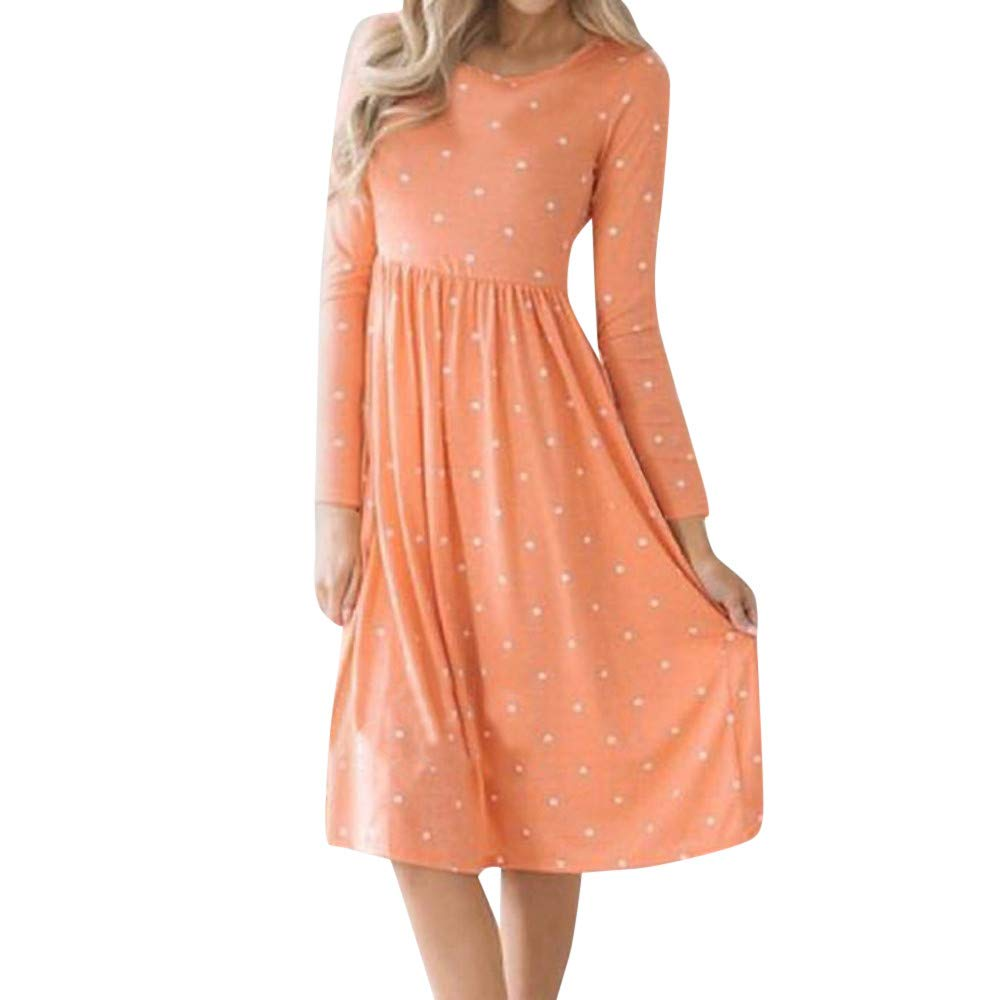 JESPER Women Swing Casual Dot Printing Round Neck Dress Long Sleeve Evening Party Dress Orange