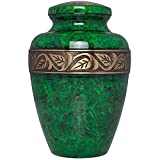 Green Funeral Urn by Liliane Memorials - Cremation Urn for Human Ashes - Hand Made in Brass - Suitable for Cemetery Burial or Niche - Large Size fits remains of Adults up to 200 lbs - Esmeralda Model