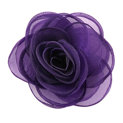 (Merdia Women's Lovely Rose Flower Hair Clip Rose Brooches Purple)